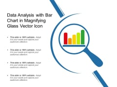 Data Analysis With Bar Chart In Magnifying Glass Vector Icon Ppt PowerPoint Presentation File Model PDF