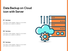 Data Backup On Cloud Icon With Server Ppt PowerPoint Presentation Gallery Examples PDF