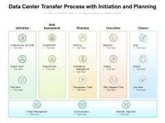 Data Center Transfer Process With Initiation And Planning Ppt PowerPoint Presentation Gallery Slides PDF