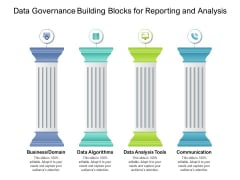 Data Governance Building Blocks For Reporting And Analysis Ppt PowerPoint Presentation Gallery Example PDF