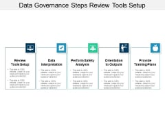 Data Governance Steps Review Tools Setup Ppt PowerPoint Presentation Visual Aids Diagrams