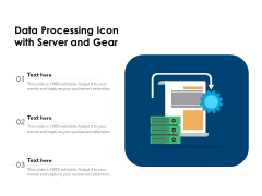 Data Processing Icon With Server And Gear Ppt PowerPoint Presentation Gallery Graphic Images PDF