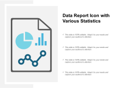 Data Report Icon With Various Statistics Ppt PowerPoint Presentation Infographic Template Clipart