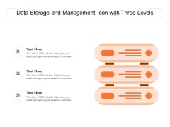 Data Storage And Management Icon With Three Levels Ppt PowerPoint Presentation File Pictures PDF