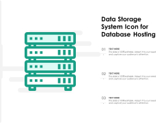 Data Storage System Icon For Database Hosting Ppt PowerPoint Presentation Gallery Icon PDF