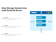 Data Storage System Icon With Network Server Ppt PowerPoint Presentation File Infographics PDF