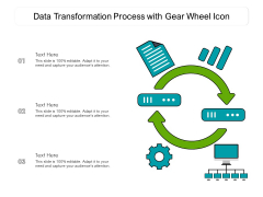 Data Transformation Process With Gear Wheel Icon Ppt PowerPoint Presentation Icon Background Images PDF
