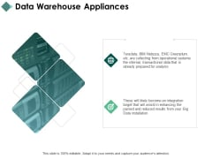 Data Warehouse Appliances Arrows Ppt PowerPoint Presentation Infographics Templates