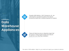 Data Warehouse Appliances Ppt PowerPoint Presentation Pictures Images