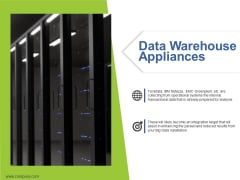 Data Warehouse Appliances Ppt PowerPoint Presentation Summary Graphic Tips