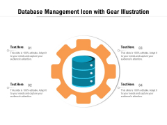 Database Management Icon With Gear Illustration Ppt PowerPoint Presentation File Layout PDF