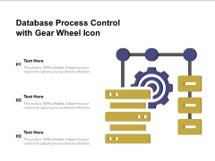 Database Process Control With Gear Wheel Icon Ppt PowerPoint Presentation Visual Aids Layouts PDF