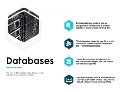Databases Technology Marketing Ppt PowerPoint Presentation Inspiration Objects