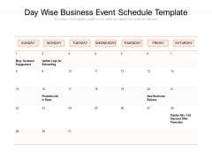 Day Wise Business Event Schedule Template Ppt PowerPoint Presentation Pictures Design Templates