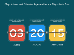 Days Hours And Minutes Information On Flip Clock Icon Ppt PowerPoint Presentation Gallery Outline PDF