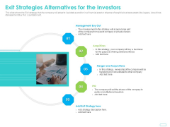 Debt Funding Investment Pitch Deck Exit Strategies Alternatives For The Investors Ppt Icon Template PDF