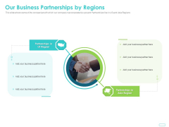 Debt Funding Investment Pitch Deck Our Business Partnerships By Regions Ppt Visual Aids Styles PDF