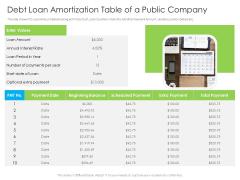 Debt Loan Amortization Table Of A Public Company Ppt Portfolio Graphics Template PDF