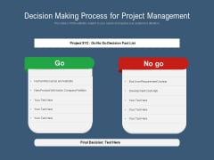 Decision Making Process For Project Management Ppt PowerPoint Presentation Gallery Professional PDF