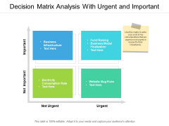 Decision Matrix Analysis With Urgent And Important Ppt PowerPoint Presentation Portfolio Grid