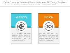 Define Companys Vision And Mission Statements Ppt Design Templates