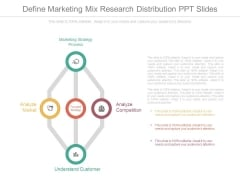 Define Marketing Mix Research Distribution Ppt Slides