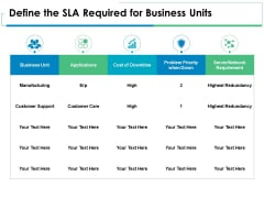 Define The SLA Required For Business Units Ppt PowerPoint Presentation Styles Icon