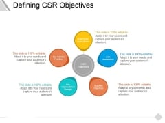 Defining Csr Objectives Ppt PowerPoint Presentation Model Infographic Template