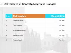 Deliverables Of Concrete Sidewalks Proposal Ppt PowerPoint Presentation Inspiration Skills