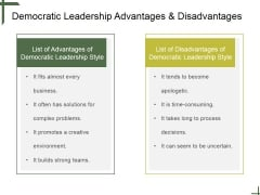 Democratic Leadership Advantages And Disadvantages Ppt PowerPoint Presentation Background Image
