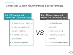 Democratic Leadership Advantages And Disadvantages Ppt PowerPoint Presentation Deck
