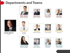 Departments And Teams Ppt PowerPoint Presentation Infographic Template Visual Aids
