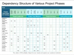 Dependency Structure Of Various Project Phases Ppt PowerPoint Presentation Styles Graphics Template PDF