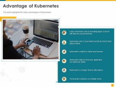 Deploying Docker Container And Kubernetes Within Organization Advantage Of Kubernetes Ppt PowerPoint Presentation Slides Templates PDF
