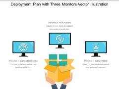 Deployment Plan With Three Monitors Vector Illustration Ppt PowerPoint Presentation Icon Ideas PDF