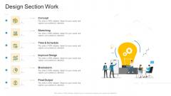 Design Section Work Company Profile Ppt Icon PDF