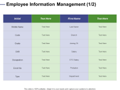 Designing Compensation Systems For Professionals Employee Information Management Initial Pictures PDF