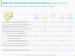 Designing Great Client Experience Action Plan Roll Out Customer Experience Survey Ppt File Background Images PDF