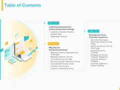 Designing Great Client Experience Action Plan Table Of Contents Ppt Pictures Designs PDF