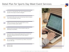 Detail Plan For Sports Day Meet Event Services Ppt PowerPoint Presentation Deck