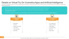 Details On Virtual Try On Cosmetics Apps And Artificial Intelligence Background PDF
