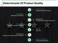 Determinants Of Product Quality Ppt PowerPoint Presentation Infographic Template Outline