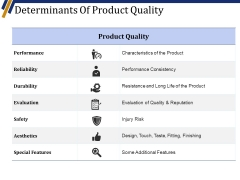 Determinants Of Product Quality Ppt PowerPoint Presentation Infographics Design Templates