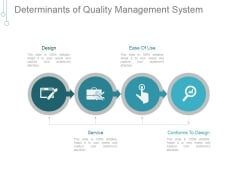 Determinants Of Quality Management System Ppt PowerPoint Presentation Visual Aids