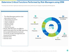 Determine Critical Functions Performed By Risk Managers Using ERM Ppt Outline Files PDF