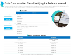 Determining Crisis Management BCP Crisis Communication Plan Identifying The Audience Involved Brochure PDF