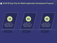 Develop Cellphone Apps 30 60 90 Days Plan For Mobile Application Development Proposal Diagrams PDF