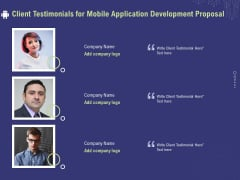 Develop Cellphone Apps Client Testimonials For Mobile Application Development Proposal Icons PDF