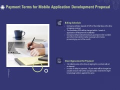 Develop Cellphone Apps Payment Terms For Mobile Application Development Proposal Icons PDF