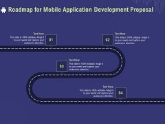Develop Cellphone Apps Roadmap For Mobile Application Development Proposal Ppt PowerPoint Presentation Icon Example File PDF